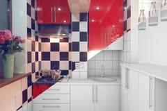 A medio terminar interior de la pequeña cocina Imagenes de archivo