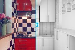 A medio terminar interior de la pequeña cocina Imagen de archivo libre de regalías