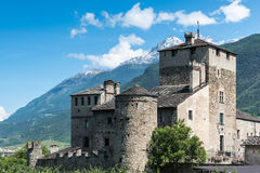Medioeval castle sarriod de la tour in italy near aosta Stock Photos