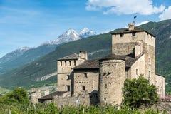 Medioeval castle sarriod de la tour in italy near aosta Stock Images