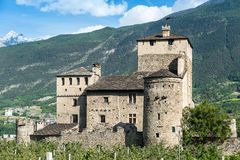 Medioeval castle sarriod de la tour in italy near aosta Royalty Free Stock Photos