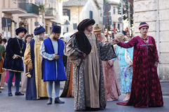 Medioeval costumes in Bracciano (Italy). Costumes at historical re-enactment of the medieval period in which the noble Orsini family resided in Bracciano Castle Royalty Free Stock Image