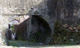 Medioeval village, flight of steps. Castiglione Olona Italy stock images