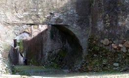 Medioevaldorp, trap Castiglione Olona Italië stock afbeeldingen