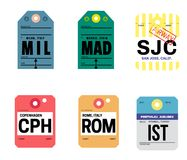 Mediolańska Madrid San Jose Copenhagen Rome Istanbul bagażowa etykietka ilustracja wektor