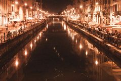 Mediolański życie nocne fotografia royalty free