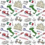 Mediolański Włochy bezszwowy wzór z ręka rysującym nakreślenie elementów Duomo katedry, flaga, mapy, pizzy, przewiezionego i trad ilustracja wektor