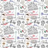 Mediolański Włochy bezszwowy wzór z ręka rysującym nakreślenie elementów Duomo katedry, flaga, mapy, pizzy, przewiezionego i trad royalty ilustracja