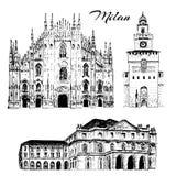 Mediolański zwiedza set Duomo di Milano, Teatro alla Scala, Sforza kasztel Włochy Wektorowa ręka rysujący nakreślenie ilustracja wektor