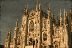 Mediolańska katedra - rocznik Fotografia Royalty Free
