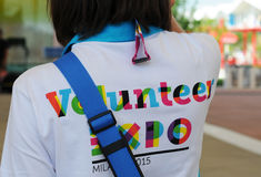 Mediolan, expo 2015, wolontariusz Obrazy Royalty Free
