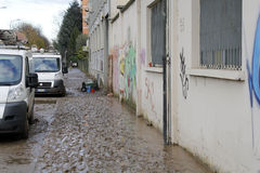 Mediolan fiume Seveso powódź Zdjęcia Stock