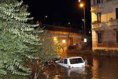 Mediolan fiume Seveso powódź Zdjęcia Royalty Free