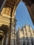 Mediolan: katedra i galeria Obraz Stock