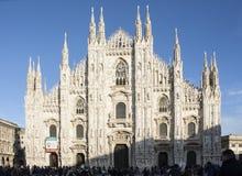 MEDIOLAN WŁOCHY, LUTY, - 11, 2016 Duomo di Milano, Mediolański Katedralny sławny włoski punkt zwrotny, główny katedralny kościół  Zdjęcia Stock