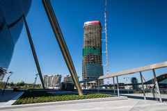 MEDIOLAN WŁOCHY, MAJ, - 04 2016: CityLife Generali Mediolański wierza projektujący Zaha Hadid Obrazy Stock