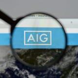 Mediolan Włochy, Sierpień, - 10, 2017: AIG strony internetowej homepage Ja jest A Obraz Royalty Free