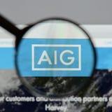 Mediolan Włochy, Sierpień, - 10, 2017: AIG strony internetowej homepage Ja jest A Fotografia Royalty Free