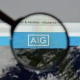 Mediolan Włochy, Sierpień, - 10, 2017: AIG strony internetowej homepage Ja jest A Zdjęcia Stock