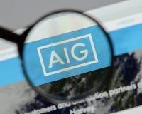 Mediolan Włochy, Sierpień, - 10, 2017: AIG strony internetowej homepage Ja jest A Obrazy Royalty Free
