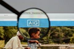 Mediolan Włochy, Sierpień, - 10, 2017: AIG strony internetowej homepage Ja jest A Obrazy Stock