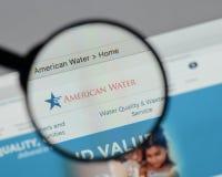 Mediolan Włochy, Sierpień, - 10, 2017: American Water strony internetowej homepage Obrazy Stock