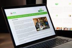 Mediolan Włochy, Sierpień, - 15, 2018: ASA NGO strony internetowej homepage ASA lo zdjęcia stock