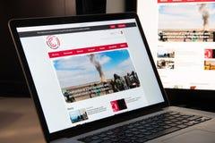 Mediolan Włochy, Sierpień, - 15, 2018: Genewa wezwania NGO strony internetowej homepage fotografia royalty free