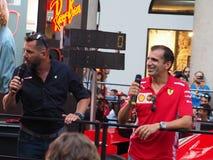 Mediolan Włochy, Sierpień, - 29, 2018: Marc Genè i Carlo Vanzini przy F1 wydarzeniem w Mediolan zdjęcie stock