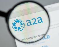 Mediolan Włochy, Sierpień, - 10, 2017: A2A strony internetowej homepage Ja A2A l fotografia stock