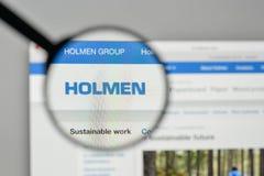 Mediolan Włochy, Listopad, - 1, 2017: Holmen AB logo na stronie internetowej h Zdjęcia Stock