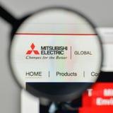 Mediolan Włochy, Listopad, - 1, 2017: Mitsubishi Elektryczny logo na Zdjęcia Stock