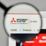 Mediolan Włochy, Listopad, - 1, 2017: Mitsubishi Elektryczny logo na Fotografia Royalty Free