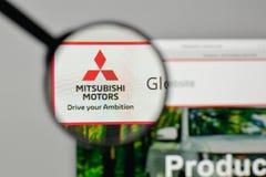 Mediolan Włochy, Listopad, - 1, 2017: Mitsubishi logo na stronie internetowej Obraz Stock