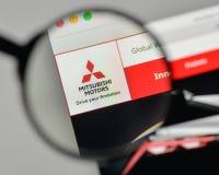 Mediolan Włochy, Listopad, - 1, 2017: Mitsubishi logo na stronie internetowej Obrazy Royalty Free