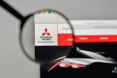 Mediolan Włochy, Listopad, - 1, 2017: Mitsubishi logo na stronie internetowej Obraz Royalty Free
