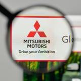 Mediolan Włochy, Listopad, - 1, 2017: Mitsubishi logo na stronie internetowej Zdjęcie Stock
