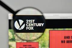 Mediolan Włochy, Listopad, - 1, 2017: XXI wiek Fox logo na my Obraz Stock