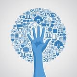 Medios árbol social del concepto de la mano de las redes Fotografía de archivo libre de regalías