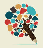 Medios árbol social del lápiz del concepto Imágenes de archivo libres de regalías