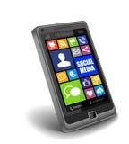 Medios Apps social en Smartphone Fotos de archivo libres de regalías