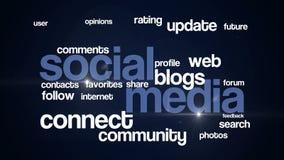 Medios azul social del texto 4K del fondo ilustración del vector