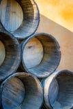 Medios barriles de vino Imagen de archivo libre de regalías