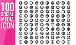 Medios botón social 100 Imagen de archivo