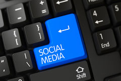 Medios botón social azul en el teclado 3d Imagen de archivo
