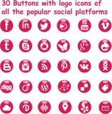 Medios botones brillantes sociales magentas Foto de archivo libre de regalías