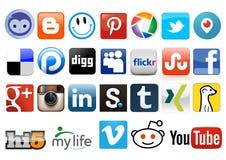 Medios botones sociales Imagen de archivo