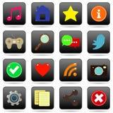 Medios botones sociales del Web para el Web site Fotografía de archivo libre de regalías