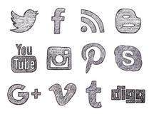 Medios botones sociales dibujados mano