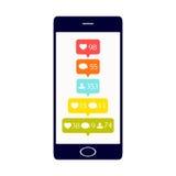 Medios botones sociales en el teléfono stock de ilustración